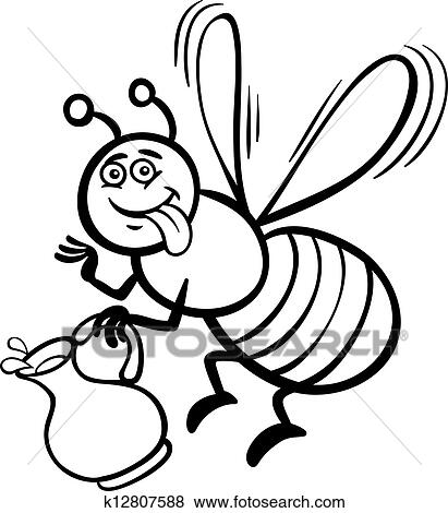 Honey Bee Cartoon For Coloring Book Clip Art