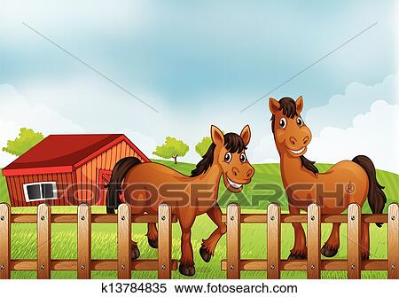 Clipart Of Horses Inside The Wooden Fence With A Barn K13784835