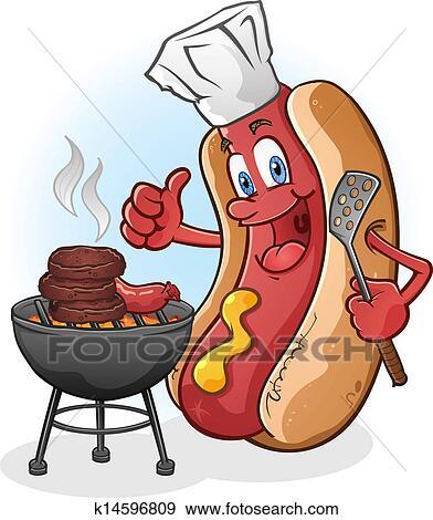 Dessin Barbecue clipart - hot-dog, dessin animé, grillade, sur, a, barbecue