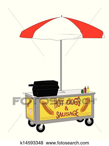 Clip Art of hot dog street vendor k14593348 - Search ...