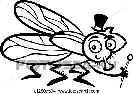 Black And White Cartoon Illustration Of Funny Fly Or Housefly With Hat Cane For Coloring Book