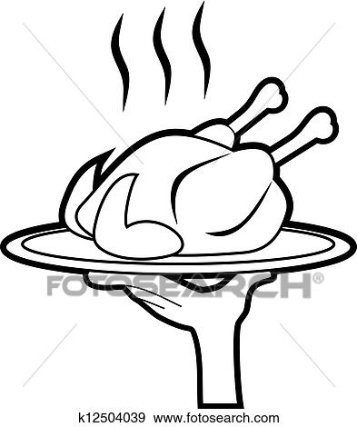 Clip Art Of Hungry Chicken K12504039