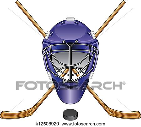 Clipart Of Ice Hockey Goalie Mask Sticks Puck K12508920 Search