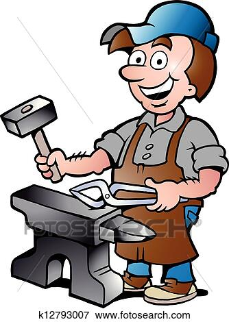 clip art of illustration of an happy blacksmith k12793007 search rh fotosearch com blacksmith tools clipart blacksmith clipart