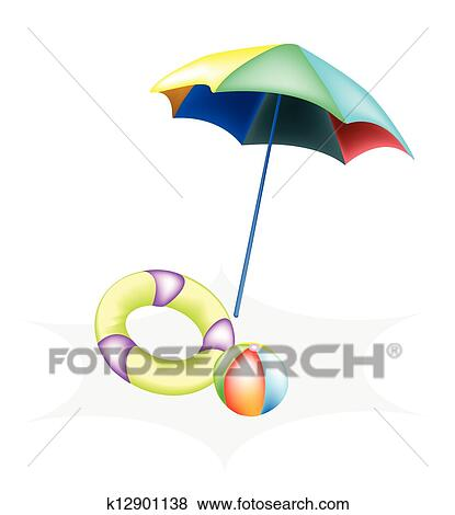 Clip Art Of Illustration Of Beach Ball With Inflatable Ring And