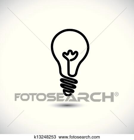 Clipart Of Incandescent Simple Black Line Light Bulb Icon Symbol