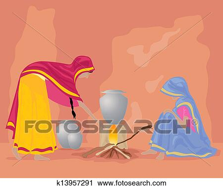India Kitchen Clipart K13957291 Fotosearch