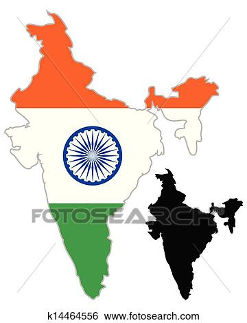 India Map Flag.Clip Art Of India Map Flag K14464556 Search Clipart Illustration