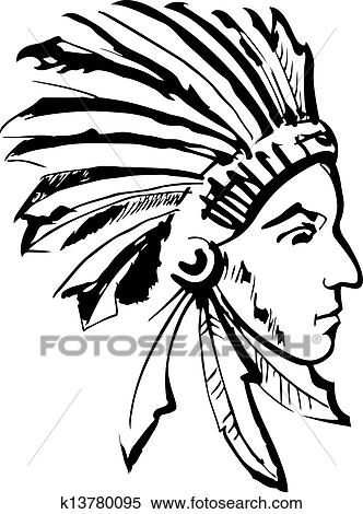 Clipart Of Indian Chief Black And White K13780095