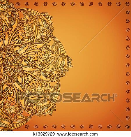 Clip Art Of Indian Henna Background K13329729 Search Clipart