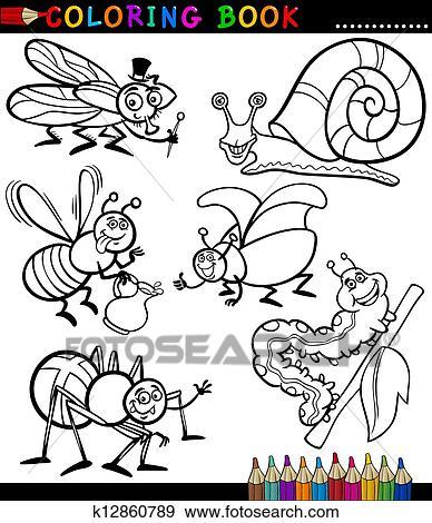 Clip Art - insectos y bichos, para, libro colorear k12860789 ...