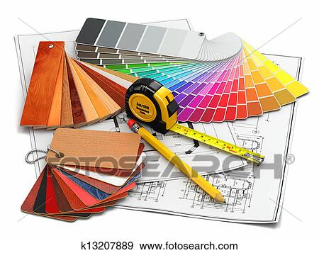 Good Stock Photograph   Interior Design. Architectural Materials Tools And  Blueprints. Fotosearch   Search Stock