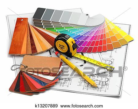 stock photograph of interior design architectural materials tools rh fotosearch com interior design clipart interior design clipart free