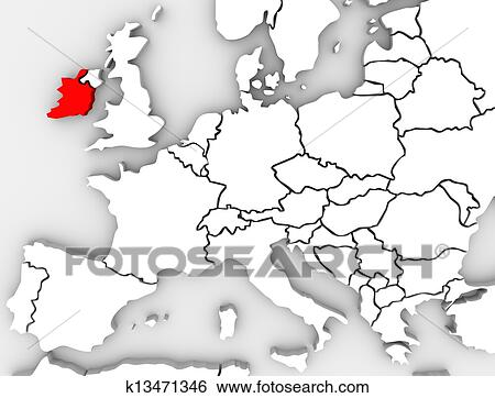 Country Of Ireland Map.Ireland Abstract 3d Map Northern Europe Country Stock Illustration