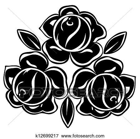 Schwarz- weißen Blüten und Blätter ...   Stock-Vektor   Colourbox