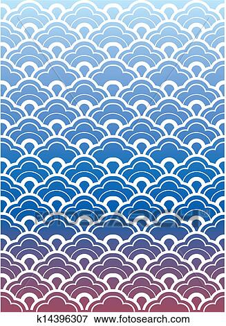 clip art of japanese wave pattern wallpaper k14396307 search rh fotosearch com Cartoon Waves Clip Art Japanese Food Clip Art