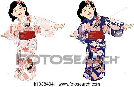 Clipart - japonés, niña, en, colorido, kimonos k13384041 - Buscar ...
