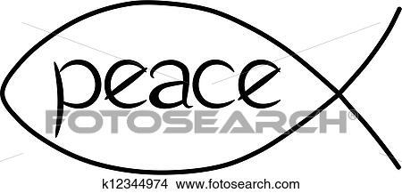 clipart of jesus peace fish k12344974 search clip art rh fotosearch com Jesus Fish Symbol Jesus Fish Vector