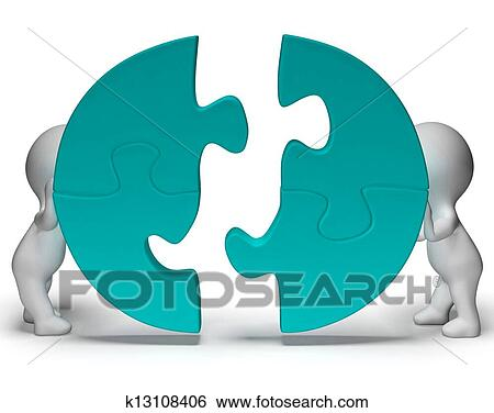 Stock Images Of Jigsaw Pieces Being Joined Showing Teamwork And