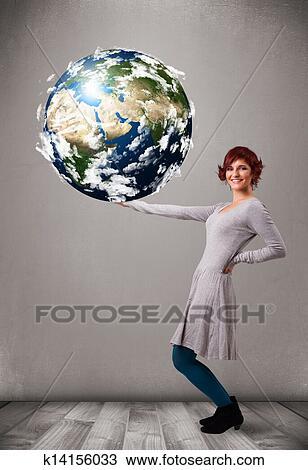 Jolie Fille Tenue 3d Terre Planète Dessin