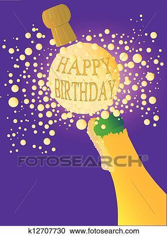 Célèbre Clipart - joyeux anniversaire, champagne k12707730 - Recherchez  KR21