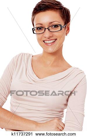 Jung Lächelnde Frau Mit Brille Und Kurzhaarfrisur Stock