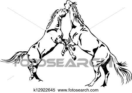Clipart Kämpfen Pferden Schwarz Weiß Vektor Aufreißen