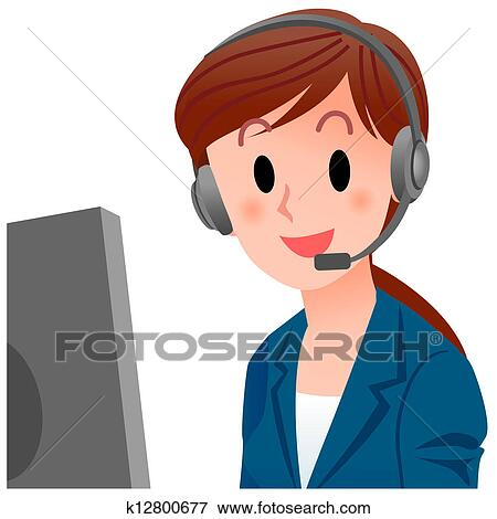 Clip Art Customer Service Clipart clipart of customer service representative k12800671 search clip vector illustration close up smiling in suit cropped isolated on white clipping mask is use