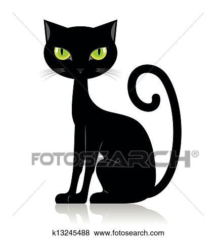 Clip art gatto nero k13245488 cerca clipart poster for Gatto clipart