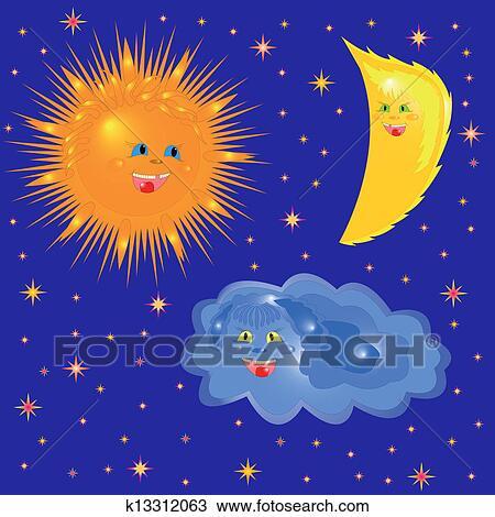 clipart soleil lune et nuage sur les ciel toil k13312063 recherchez des clip arts. Black Bedroom Furniture Sets. Home Design Ideas