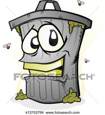 Clipart sourire poubelle dessin anim caract re k13753794 recherchez des clip arts des - Dessin de poubelle ...