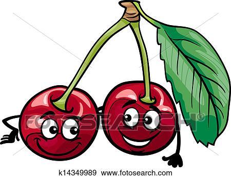 Clipart rigolote cerise fruits dessin anim - Dessin de cerise ...
