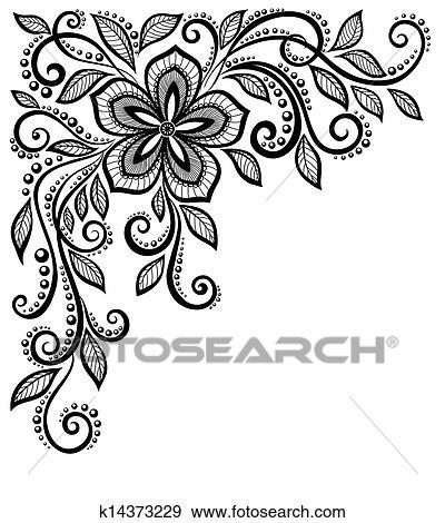 Clipart beau noir blanc dentelle fleur dans les corner espace pour ton texte et - Dessin de fleur en noir et blanc ...