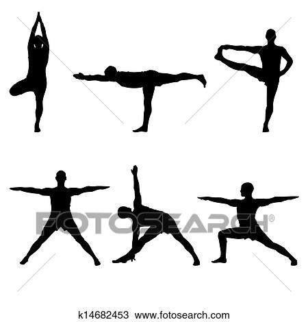 drawing of six yoga standing poses k14682453  search