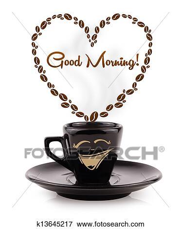 Kaffee Becher Mit Kaffeebohnen Geformt Herz Mit Guten Morgen
