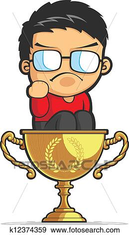 A Vector Image Of Kid Sitting In Golden Trophy And Making Fist As Symbol Success Drawn Cartoon Style This Is Very Good For Design