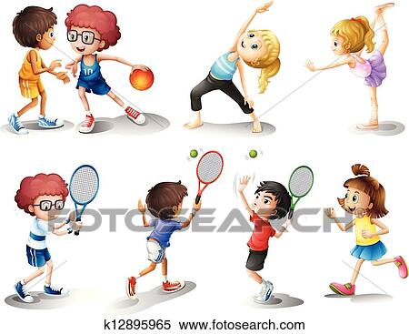 clipart of kids exercising and playing different sports k12895965 rh fotosearch com Cowboy Clip Art Football Player Clip Art