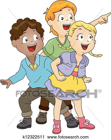 Clipart of Kids Looking at Something k12322511 - Search ...