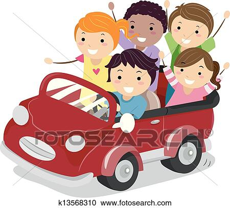 Kids On A Toy Car Clipart K13568310 Fotosearch