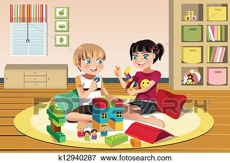 Clip Art Of Kids Playing Toys K12940287 Search Clipart