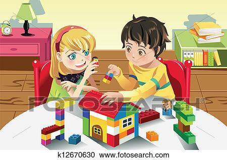 Clipart Of Kids Playing With Toys K12670630 Search Clip Art