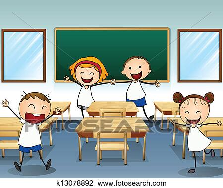 clipart of kids rehearsing inside the classroom k13078892 search rh fotosearch com clipart classroom objects clipart classroom objects
