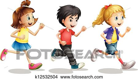 clipart of kids running k12532504 search clip art illustration rh fotosearch com