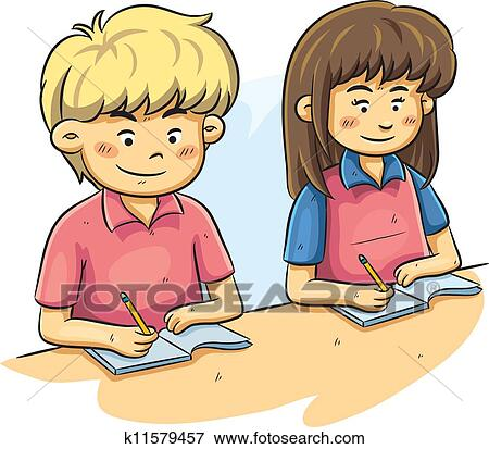 clip art of kids studying k11579457 search clipart illustration