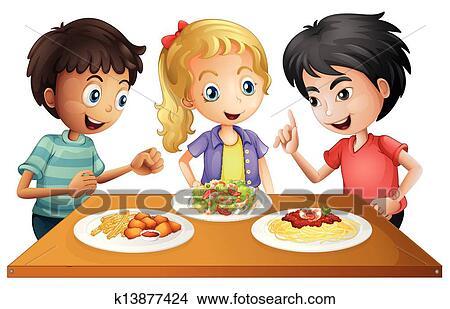 Clipart Kinder Aufpassen Dass Tisch Mit Essen K13877424