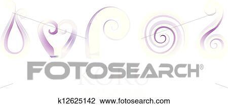 a3bb01935a534 A set of purple glass Maori Koru curl ornaments.