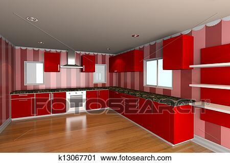 Clipart Kueche Zimmer Mit Rot Tapezieren K13067701 Suche