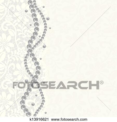 Lace Background And Pearl Necklace Clipart K13916621