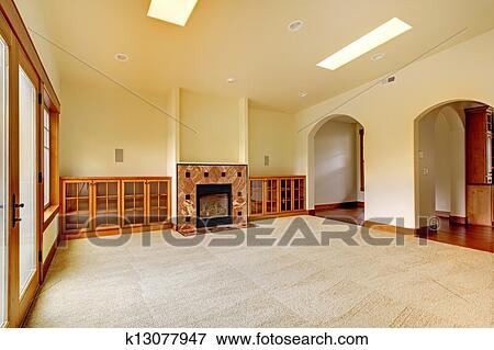 picture of large empty room with fireplace and shelves new luxury