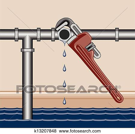 Clip Art of Leaking Pipe Repair k13207848 - Search Clipart ...